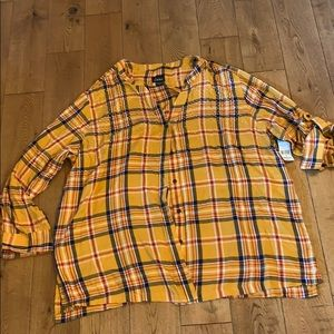 Simply Emma top NWT 3X yellow plaid